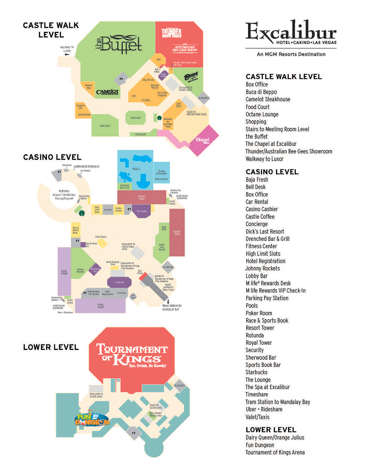 Excaliber Hotel Facility Map Las Vegas