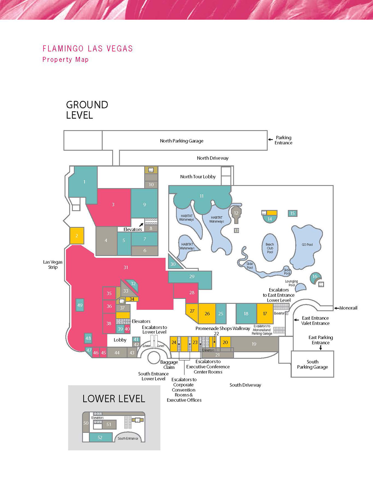 Flamingo Hotel Facility Map - Las Vegas