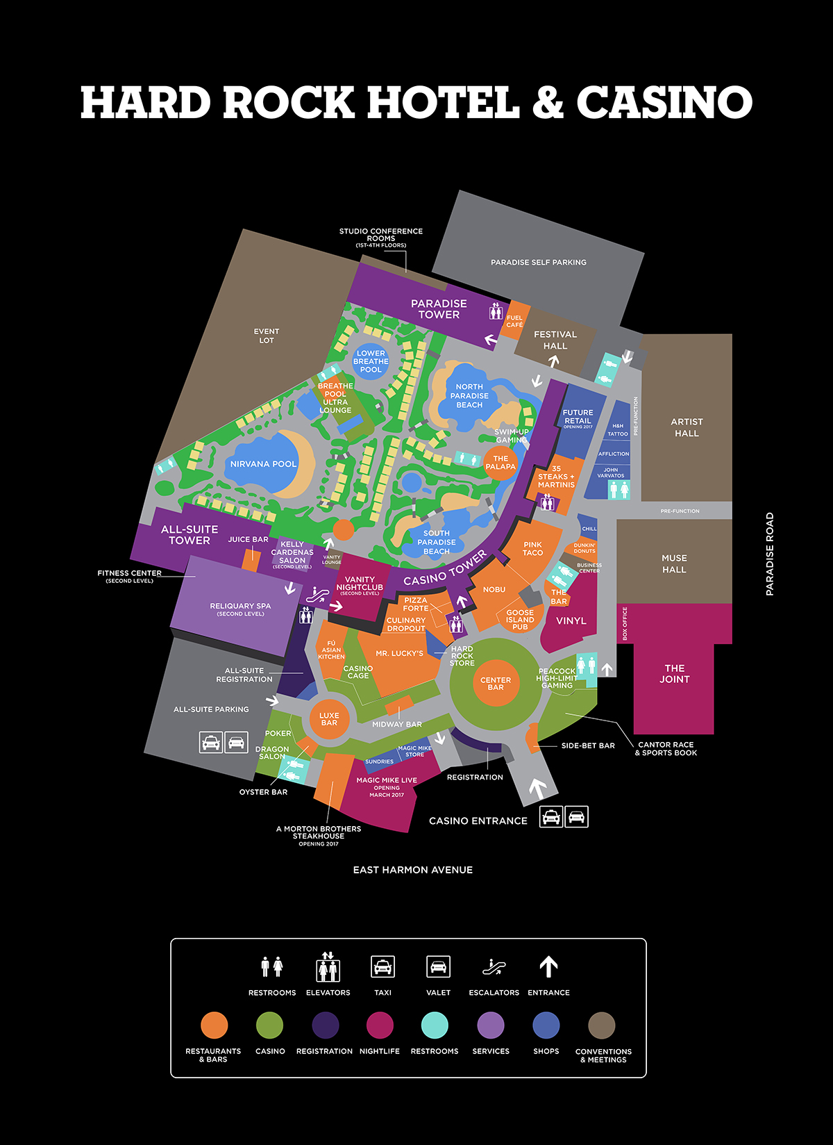 Hard Rock Hotel Facility Map -  Las Vegas