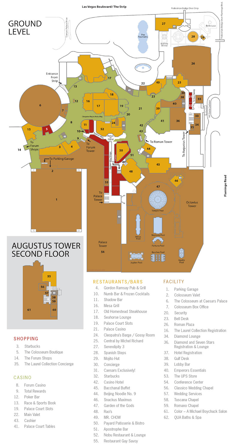 Caesar's Palace Facility Map - Las Vegas